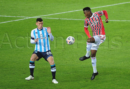 20th July 2021; Buenos Aires, Argentina;  Tomás Chancalay of Racing beaten by the pass from Léo Pelé of São Paulo, during the match between Racing and São Paulo, for the Libertadores 2021 Final Round, at Estádio Presidente Perón