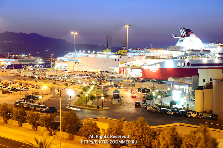 Sea port in Heraklion with speedy ferries to the islands. Crete, Greece