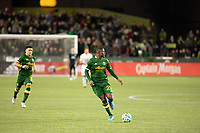 PORTLAND, OR - MARCH 01: Dairon Asprilla #27 of the Portland Timbers looks to pass the ball during a game between Minnesota United FC and Portland Timbers at Providence Park on March 01, 2020 in Portland, Oregon.