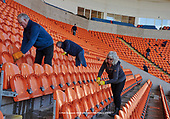 05/03/2019 Volunteers from Blackpool Supporters Trust set to cleaning the Bloomfield Stadium<br /> seats and stands ahead Saturdays near sell out fixture against Southend United. For many fans this will be the first time in four years that they have attended a home fixture following the removal of the Owen Oyston<br /> <br /> pic Phill Heywood