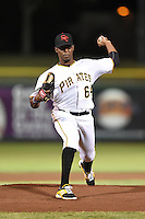 Scottsdale Scorpions pitcher Joely Rodriguez (64) during an Arizona Fall League game against the Salt River Rafters on October 8, 2014 at Scottsdale Stadium in Scottsdale, Arizona.  Salt River defeated Scottsdale 6-3.  (Mike Janes/Four Seam Images)