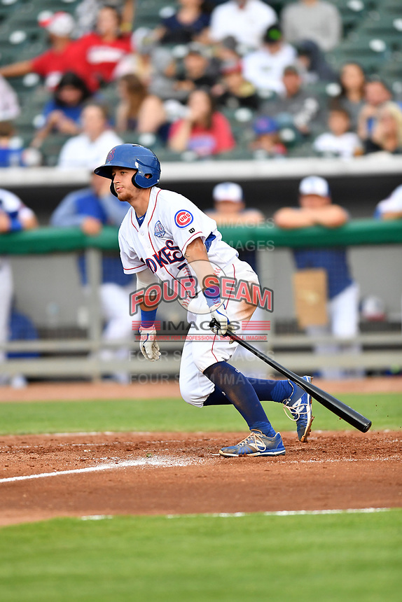 Tennessee Smokies catcher PJ Higgins (7) swings at a pitch during a game against the Birmingham Barons at Smokies Stadium on May 15, 2019 in Kodak, Tennessee. The Smokies defeated the Barons 7-3. (Tony Farlow/Four Seam Images)