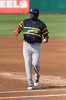 Beloit Snappers first baseman Sandber Pimentel (31) during a Midwest League game against the Wisconsin Timber Rattlers on May 30th, 2015 at Fox Cities Stadium in Appleton, Wisconsin. Wisconsin defeated Beloit 5-3 in the completion of a game originally started on May 29th before being suspended by rain with the score tied 3-3 in the sixth inning. (Brad Krause/Four Seam Images)