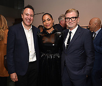 """NEW YORK CITY - OCTOBER 4: (L-R) Jordan Helman, Head of Hulu Scripted Content, Rosario Dawson, and Executive Producer Warren Littlefield attend the red carpet premiere of Hulu's """"DOPESICK"""" at the Museum of Modern Art on October 4, 2021 in New York City. . (Photo by Frank Micelotta/Hulu/PictureGroup)"""