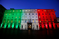 Palazzo Chigi, headquarters of the Italian Ministers illuminated with the tricolor, green, white and red Italian flag.<br /> Rome(Italy), January 14th 2021<br /> Photo Samantha Zucchi/Insidefoto