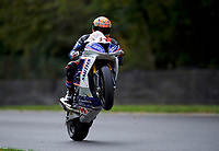 Lee Jackson of Smiths Racing BMW (14) pulls a wheelie at the end of practice in the MCE BRITISH SUPERBIKE Championships 2017 at Brands Hatch, Longfield, England on 13 October 2017. Photo by Alan  Stanford / PRiME Media Images.