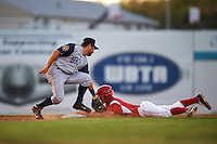 Brooklyn Cyclones second baseman Nick Sergakis (1) swipes the tag as Aaron Knapp (5) slides into second during a game against the Batavia Muckdogs on July 4, 2016 at Dwyer Stadium in Batavia, New York.  Brooklyn defeated Batavia 5-1.  (Mike Janes/Four Seam Images)