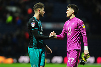 Joe Rodon and Freddie Woodman of Swansea City celebrate at full time during the Sky Bet Championship match between Preston North End and Swansea City at the Deepdale Stadium in Preston, England, UK. Saturday 01 February 2020