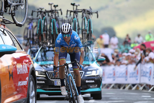 Alejandro Valverde (ESP) Movistar Team summits the Col de Peyresourde during Stage 8 of Tour de France 2020, running 141km from Cazeres-sur-Garonne to Loudenvielle, France. 5th September 2020. <br /> Picture: Colin Flockton | Cyclefile<br /> All photos usage must carry mandatory copyright credit (© Cyclefile | Colin Flockton)