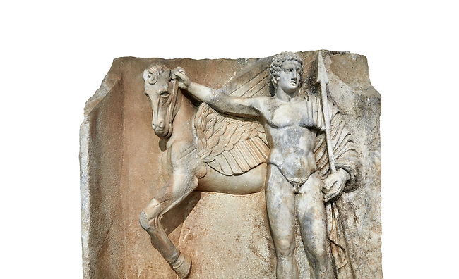 """Close up of a Roman Sebasteion relief  sculpture of  Bellerophon Aphrodisias Museum, Aphrodisias, Turkey.    Against a white background.<br /> <br /> Bellerophon was a Lykian hero and was claimed as a founder of Aphrodisias. He holds his winged horse Pegasos. The deign was modelled on another relief panel in the series """"Royal hero with Dod Hunting"""". The carving is poor and the sculptor may have been a novice.modelled"""
