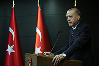 Turkish President Recep Tayyip Erdogan delivers a televised address to the nation in Istanbul, Turkey, April 3. Turkish President Recep Tayyip Erdogan on Friday declared a partial curfew for the citizens under the age of 20 to curb the fast spread of COVID-19. At a televised address to the nation, Erdogan announced a series of new measures to contain the coronavirus outbreak as the death toll from the virus climbed to 425, and the confirmed cases totaled 20,921 on Friday<br /> Photo Imago/Panoramic/Insidefoto