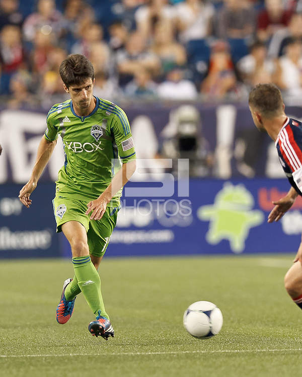 Seattle Sounders FC substitute midfielder Alvaro Fernandez (15) passes the ball. In a Major League Soccer (MLS) match, the New England Revolution tied the Seattle Sounders FC, 2-2, at Gillette Stadium on June 30, 2012.