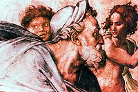 Renaissance art: Michelangelo, The Prophet Ezekiel. Sistine Chapel, Vatican. Reference only.