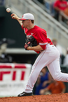 Houston Cougars pitcher Bubba Maxwell (28) delivers a pitch to the plate during the NCAA baseball game against the Texas Longhorns on June 6, 2014 at UFCU Disch–Falk Field in Austin, Texas. The Longhorns defeated the Cougars 4-2 in Game 1 of the NCAA Super Regional. (Andrew Woolley/Four Seam Images)
