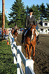 Horseback rider in horse show at Cheshire Fair in Swanzey, New Hampshire USA