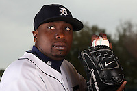 February 27, 2010:  Pitcher Dontrelle Willis (21) of the Detroit Tigers poses for a photo during media day at Joker Marchant Stadium in Lakeland, FL.  Photo By Mike Janes/Four Seam Images