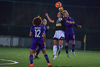 Aalst's forward Daisy Boudewijns (L) and Anderlecht midfielder Charlotte Tisson (20)(R) battle for the ball during a female soccer game between RSC Anderlecht Dames and Eendracht Aalst Ladies  on the fourth matchday of the 2020 - 2021 season of Belgian Womens Super League , Tuesday 13 th of October 2020  in ANDERLECHT , Belgium . PHOTO SPORTPIX.BE | SPP | STIJN AUDOOREN