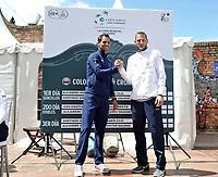 BOGOTA - COLOMBIA – 14 – 09 -2019: Santiago Giraldo (Izq.) de Colombia y Viktor Galovic (Der.) de Croacia, durante sorteo de la Copa Davis entre los equipos de Colombia y Croacia, partidos ascenso al Grupo Mundial de Copa Davis por BNP Paribas, en la Plaza de Toros La Santamaria en la ciudad de Bogota.  / Santiago Giraldo (L) of Colombia and Viktor Galovic (R) of Croacia, during Davis Cup draw between the teams of Colombia and Croatia, matches promoted to the World Group Davis Cup by BNP Pariba, at the La Santamaria Ring Bull in Bogota city. / Photo: VizzorImage / Luis Ramirez / Staff.
