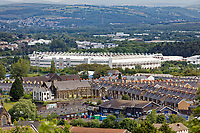 Pictured: The Liberty Stadium as seen from Mayhill. Wednesday 16 June 2021<br /> Re: Riot aftermath in the Mayhill area of Swansea, Wales, UK.