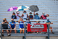 Aug 8, 2020; Clermont, Indiana, USA; NHRA fans in the crowd wear face masks and social distance in the grandstands during qualifying for the Indy Nationals at Lucas Oil Raceway. Mandatory Credit: Mark J. Rebilas-USA TODAY Sports