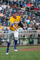 UC Santa Barbara Gauchos pitcher Noah Davis (34) tosses the ball to first against the Miami Hurricanes in Game 5 of the NCAA College World Series on June 20, 2016 at TD Ameritrade Park in Omaha, Nebraska. UC Santa Barbara defeated Miami  5-3. (Andrew Woolley/Four Seam Images)