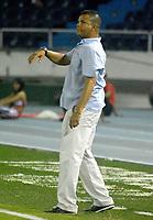 BARRANQUILLA - COLOMBIA - 31 - 03 - 2018: Juan Carlos Alvarez, técnico de Leones F. C., durante partido de la fecha 12 entre Atletico Junior y Leones F. C., por la Liga Aguila I - 2018, jugado en el estadio Metropolitano Roberto Melendez de la ciudad de Barranquilla. / Juan Carlos Alvarez, coach of Leones F. C., during a match of the 12th date between Atletico Junior and Leones F. C., for the Liga Aguila I - 2018 at the Metropolitano Roberto Melendez Stadium in Barranquilla city, Photo: VizzorImage  / Alfonso Cervantes / Cont.