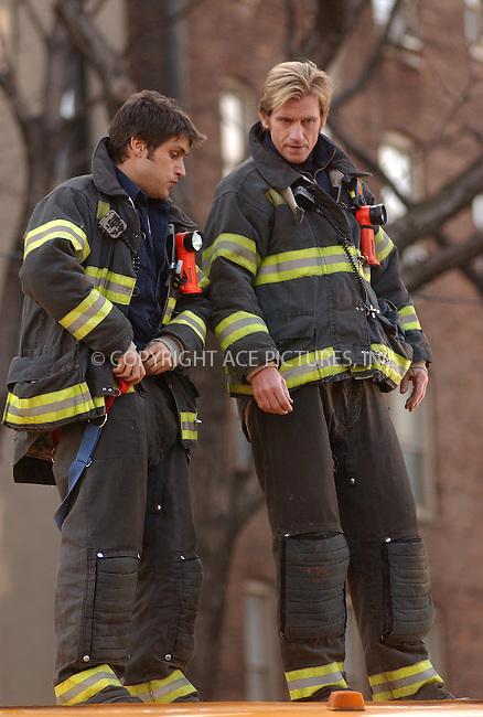 WWW.ACEPIXS.COM . . . . . ....NEW YORK, APRIL 6, 2006....Denis Leary and Michael Lambordi filming on the set of 'Rescue Me'.....Please byline: KRISTIN CALLAHAN - ACEPIXS.COM.. . . . . . ..Ace Pictures, Inc:  ..(212) 243-8787 or (646) 679 0430..e-mail: info@acepixs.com..web: http://www.acepixs.com