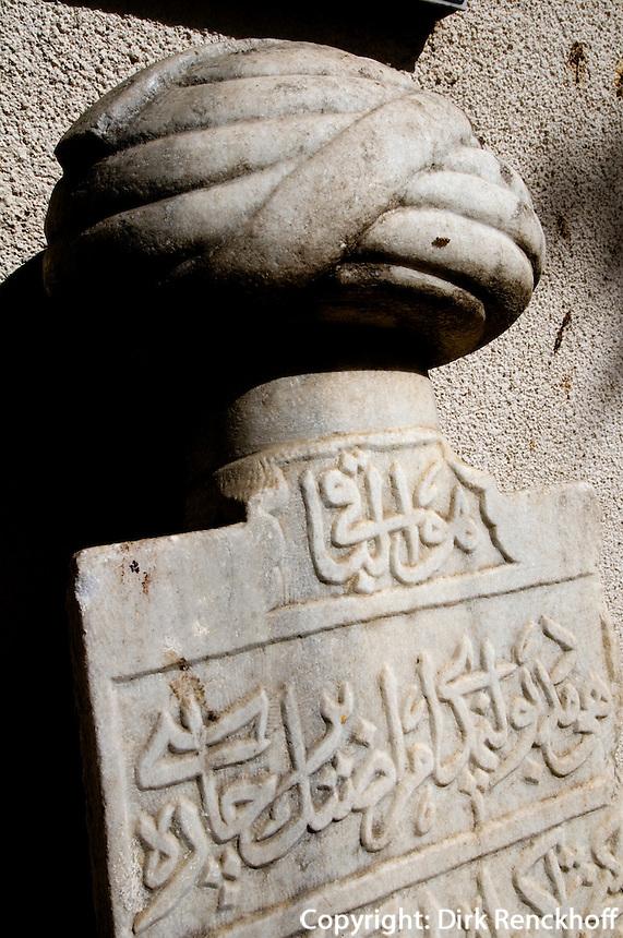 Nordzypern, Mevlevi Tekke-Museum in Nicosia Lefkosa), ehemaliges Derwischkloster, Grabstein