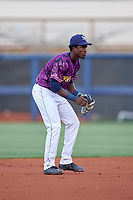 Charlotte Stone Crabs shortstop Lucius Fox (2) during a game against the Palm Beach Cardinals on April 21, 2018 at Charlotte Sports Park in Port Charlotte, Florida.  Charlotte defeated Palm Beach 5-2.  (Mike Janes/Four Seam Images)