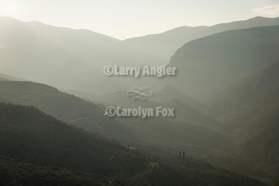 Pleistos Valley, haze, Delphoi, Greece