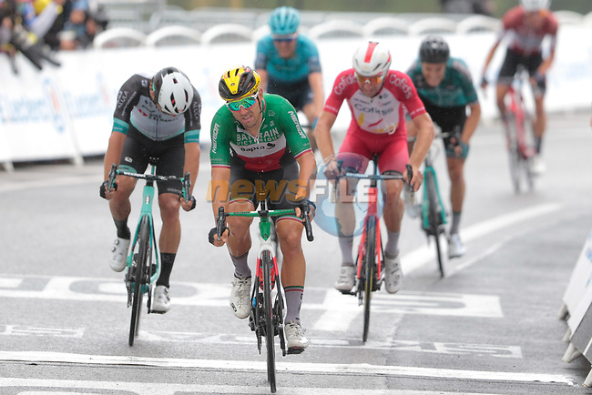 Italian Champion Sonny Colbrelli (ITA) Bahrain Victorious finishes 2nd and collects more points in the Green Jersey competition at the end of Stage 16 of the 2021 Tour de France, running 169km from Pas de la Case to Saint-Gaudens, Andorra. 13th July 2021.  <br /> Picture: Colin Flockton | Cyclefile<br /> <br /> All photos usage must carry mandatory copyright credit (© Cyclefile | Colin Flockton)