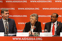 Chris Beyrer, Françoise Barré-Sinoussi and Michel Sidibé at a press conference prior to the opening session of the 20th International AIDS Conference (AIDS 2014) at the Melbourne Convention and Exhibition Centre.<br /> For licensing of this image please go to http://demotix.com