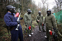 Pictured: Footballers in full gear walk through the muddy terrain. Tuesday 25 January 2011<br /> Re: Swansea City FC footballers and staff have spend a morning at Teamforce Paintball in Llangyfelach near Swansea south Wales.