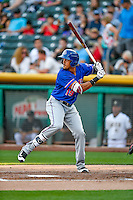 Ronald Guzman (19) of the Round Rock Express at bat against the Salt Lake Bees in Pacific Coast League action at Smith's Ballpark on August 13, 2016 in Salt Lake City, Utah. Round Rock defeated Salt Lake 7-3.  (Stephen Smith/Four Seam Images)