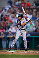 Brooklyn Cyclones first baseman Brian Sharp (23) at bat during a game against the Tri-City ValleyCats on August 21, 2018 at Joseph L. Bruno Stadium in Troy, New York.  Tri-City defeated Brooklyn 5-2.  (Mike Janes/Four Seam Images)