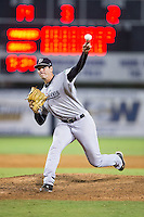 Pulaski Yankees relief pitcher Zak Wasserman (43) in action against the Danville Braves at American Legion Post 325 Field on August 1, 2016 in Danville, Virginia.  The Yankees defeated the Braves 4-1.  (Brian Westerholt/Four Seam Images)