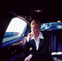 Woman executive in limo