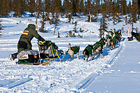 Jeff King is the first to leave the Cripple checkpoint 1/2 way into the race during the 2010 Iditarod