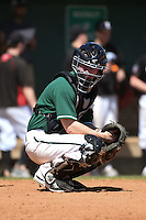 Plymouth State Panthers catcher Cam Ruziak (5) during the second game of a doubleheader against the Edgewood Eagles on March 17, 2015 at Terry Park in Fort Myers, Florida.  Edgewood defeated Plymouth State 9-2.  (Mike Janes/Four Seam Images)