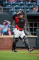 Jacksonville Jumbo Shrimp catcher Rodrigo Vigil (6) during a game against the Biloxi Shuckers on June 8, 2018 at Baseball Grounds of Jacksonville in Jacksonville, Florida.  Biloxi defeated Jacksonville 5-3.  (Mike Janes/Four Seam Images)