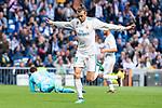 Real Madrid Gareth Bale celebrating a goal during La Liga match between Real Madrid and Celta de Vigo at Santiago Bernabeu Stadium in Madrid, Spain. May 12, 2018. (ALTERPHOTOS/Borja B.Hojas)