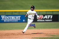 Mesa Solar Sox right fielder Luis Barrera (7), of the Oakland Athletics organization, runs to third base during an Arizona Fall League game against the Glendale Desert Dogs at Sloan Park on October 27, 2018 in Mesa, Arizona. Glendale defeated Mesa 7-6. (Zachary Lucy/Four Seam Images)