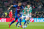 Jose Paulo Bezerra Maciel Junior, Paulinho, of FC Barcelona is followed by Rodrigo Battaglia of duringing CP during the UEFA Champions League 2017-18 match between FC Barcelona and Sporting CP at Camp Nou on 05 December 2017 in Barcelona, Spain. Photo by Vicens Gimenez / Power Sport Images