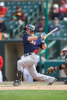 Toledo Mudhens second baseman Tyler Bortnick (22) at bat during a game against the Rochester Red Wings on June 12, 2016 at Frontier Field in Rochester, New York.  Rochester defeated Toledo 9-7.  (Mike Janes/Four Seam Images)