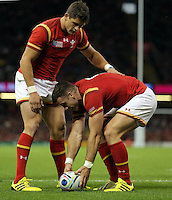 Pictured: Gareth Davies of Wales (R) celebrates his try with team mate Lloyd Williams (L) Sunday 20 September 2015<br />Re: Rugby World Cup 2015, Wales v Uruguay at the Millennium, Stadium, Wales, UK