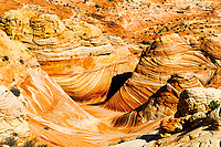Aerial view of The Wave's stunning sandstone formations, in North Coyote buttes of Paria Canyon, at the Arizona and Utah border USA