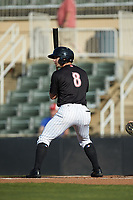 Ian Dawkins (8) of the Kannapolis Intimidators at bat against the Hickory Crawdads at Kannapolis Intimidators Stadium on May 6, 2019 in Kannapolis, North Carolina. The Crawdads defeated the Intimidators 2-1 in game one of a double-header. (Brian Westerholt/Four Seam Images)
