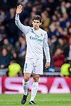 Jesus Vallejo Lazaro of Real Madrid celebrates his side going through to the Semi-Finals of the UEFA Champions League after the UEFA Champions League 2017-18 quarter-finals (2nd leg) match between Real Madrid and Juventus at Estadio Santiago Bernabeu on 11 April 2018 in Madrid, Spain. Photo by Diego Souto / Power Sport Images