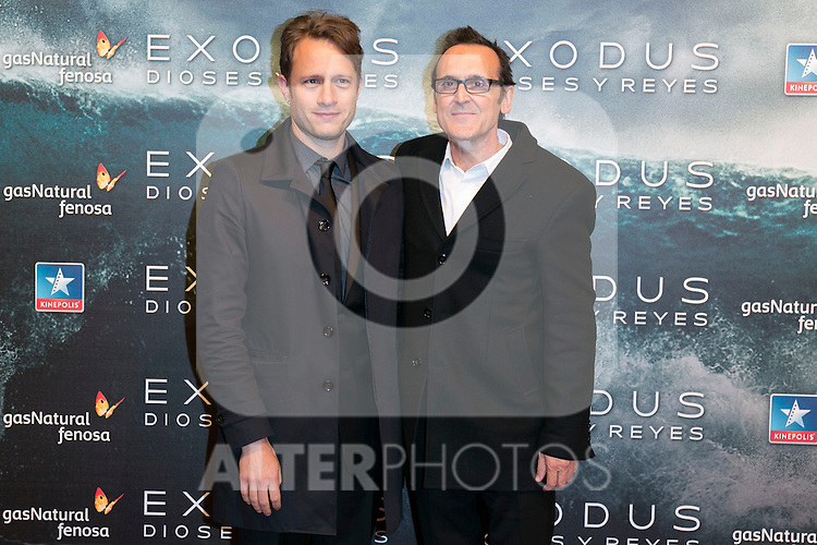 """Federico Jusid and Alberto Iglesias attend the Premiere of the movie """"EXODUS: GODS AND KINGS"""" at callao Cinema in Madrid, Spain. December 4, 2014. (ALTERPHOTOS/Carlos Dafonte)"""