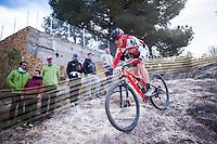 Chelva, SPAIN - MARCH 6: Victor Lluesa during Spanish Open BTT XCO on March 6, 2016 in Chelva, Spain